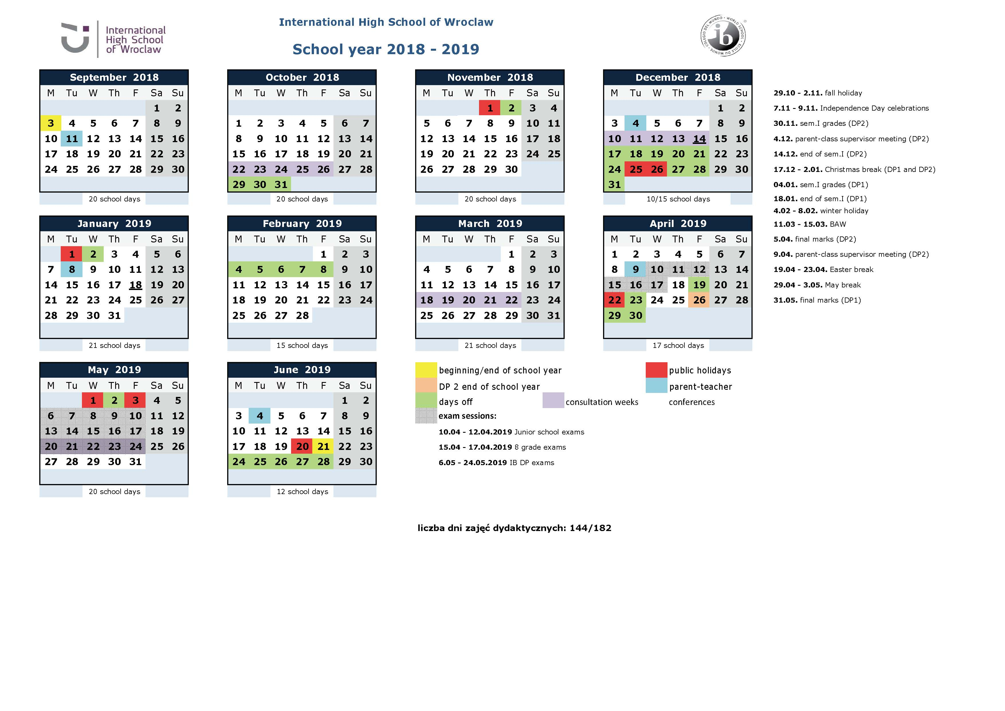 School year calendar 2018-19 IHSW - for students and parents