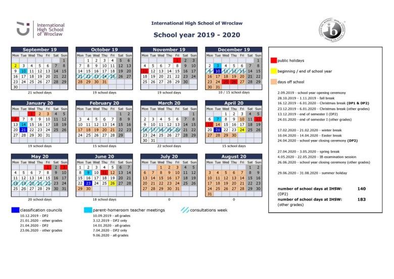 IHSW Calendar 2019-2020